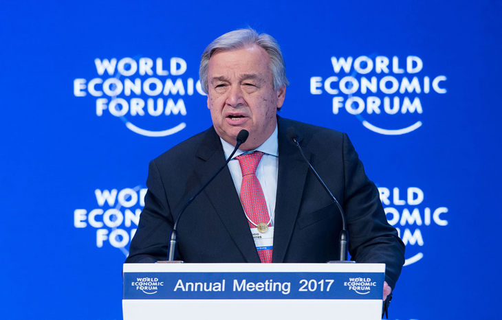At Davos forum, UN chief Guterres calls businesses 'best allies' to curb climate change, poverty