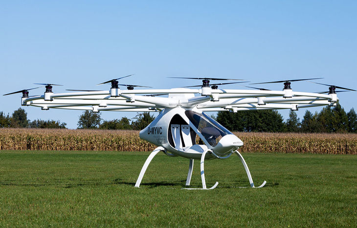 The flying taxi is just about to be launched onto the market - the Volocopter series model 2X