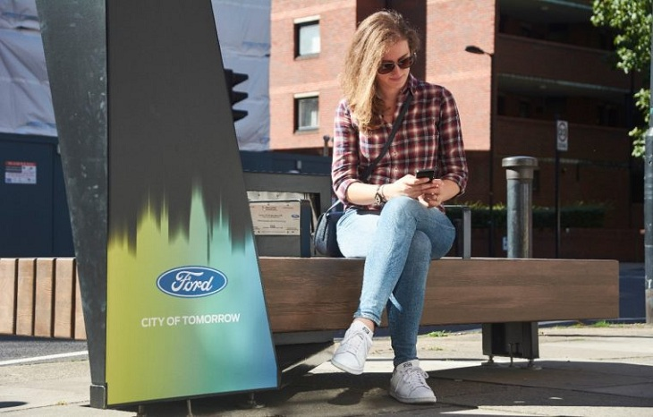 Ford smart benches help London pedestrians stay connected on the move with mobile charging and wi-fi